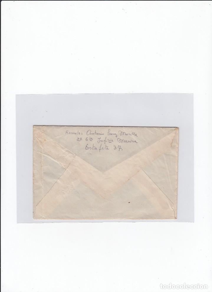 Sellos: Sobre + carta. Censura militar. 2ª Compañia de infanteria de Marina del....Batallón Expedicionario. - Foto 2 - 216601646