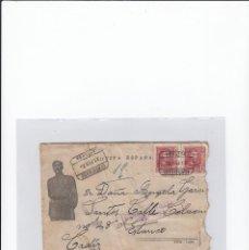 Sellos: SOBRE + CARTA. DE ASTORGA ( LEÓN ) A CÁDIZ . CENSURA MILITAR, PROPAGANDA PATRIÓTICA. 21 / 02 /1938. Lote 216615107