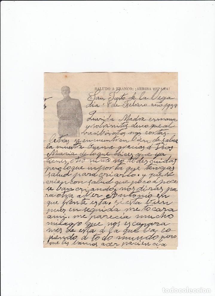 Sellos: Sobre + carta. De Astorga ( León ) a Cádiz . Censura militar, propaganda patriótica. 21 / 02 /1938 - Foto 3 - 216615107