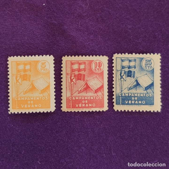 3 VIÑETAS DE CAMPAMENTOS DE VERANO (OJE). 5,10 Y 25 CTS. FOURNIER. VIÑETA-SELLO-SELLOS (Sellos - España - Guerra Civil - Viñetas - Nuevos)