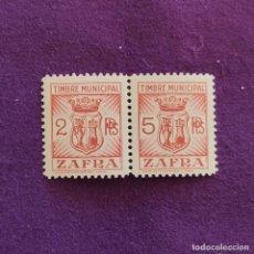 Sellos: 2 VIÑETAS UNIDAS DE ZAFRA (BADAJOZ). TIMBRE MUNICIPAL. 2 Y 5 PTAS. FOURNIER. VIÑETA-SELLO-SELLOS. Lote 216686926