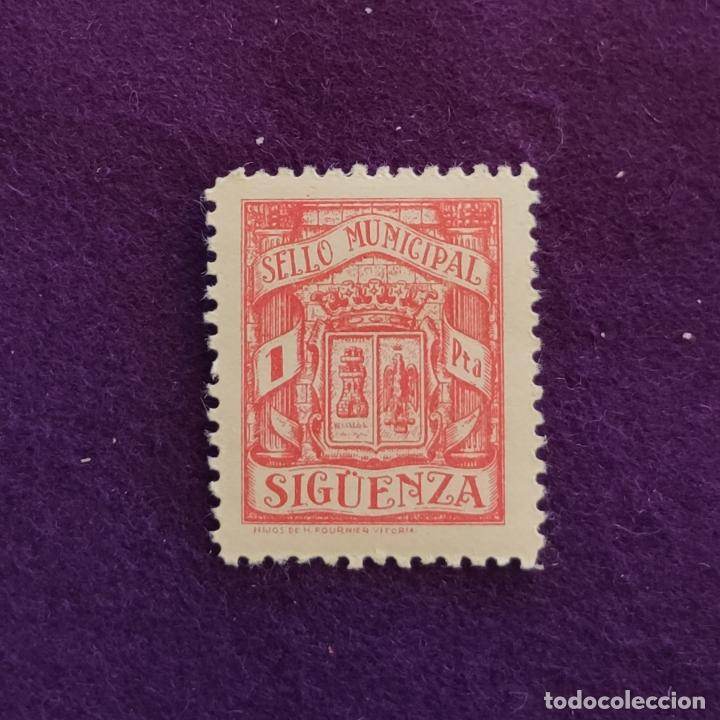 VIÑETA DE SIGUENZA. TIMBRE MUNICIPAL. 1 PTA. FOURNIER. VIÑETAS-SELLO-SELLOS (Sellos - España - Guerra Civil - Viñetas - Nuevos)