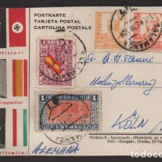 Sellos: POSTAL PATRIOTICA,- CON SELLO DE 4 PTAS,-DEFENSA NACIONAL- VER FOTOS. Lote 216732010