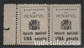 PEÑAFIEL.- PAREJA BORDE DE HOJA, 1 PTA.- VER FOTO (Sellos - España - Guerra Civil - Locales - Nuevos)