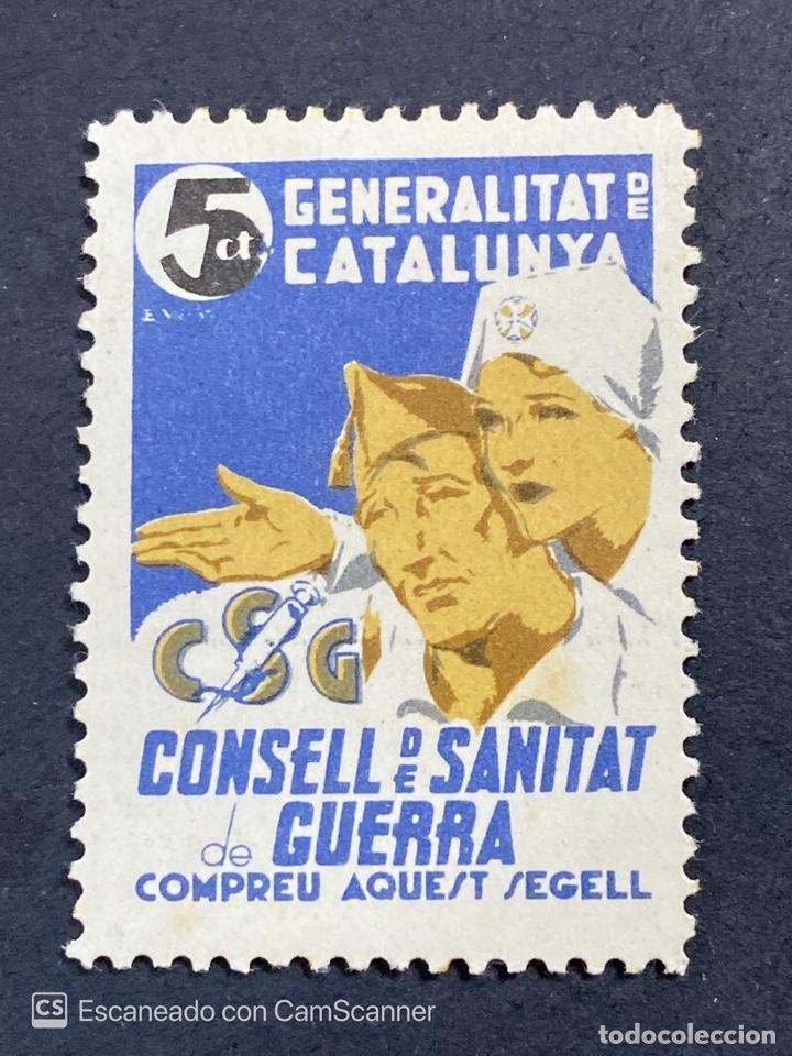 VIÑETA. GENERALITAT DE CATALUNYA. CONSELL DE SANITAT DE GUERRA. T CTS. NUEVO CON CHARNELA. (Sellos - España - Guerra Civil - Locales - Nuevos)