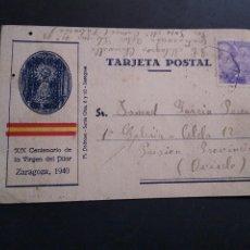 Sellos: XIX CENTENARIO DE LA VIRGEN DEL PILAR. POSTAL PATRIÓTICA. ZARAGOZA 1940. Lote 217243628