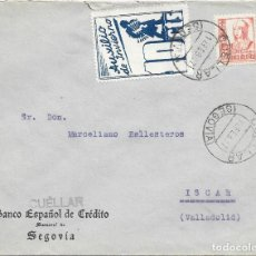 Sellos: SEGOVIA. AUXILIO DE INVIERNO. EDIFIL 823. DE CUELLAR - SEGOVIA A ISCAR - VALLADOLID 1937. Lote 217476281