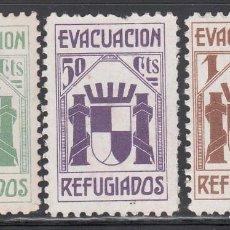 Sellos: REFUGIADOS, EVACUACIÓN, 5 C VERDE, 50 C LILA, 1 P. CASTAÑO. (AL.2470, 2476, 2477). Lote 217489193