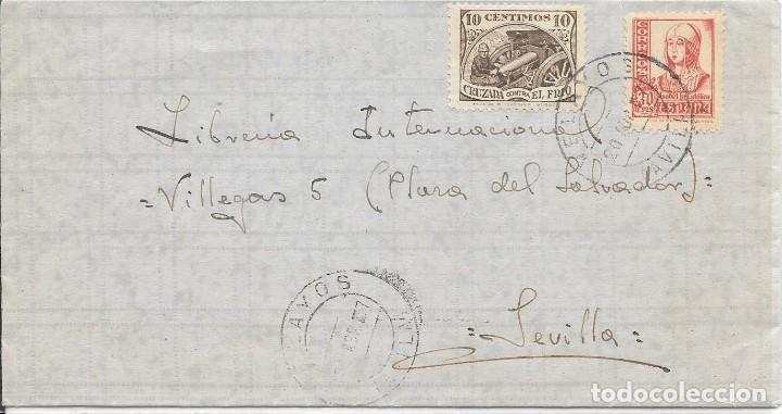 AVILA. CRUZADA CONTRA EL FRIO. EDIFIL 823. DE VELAYOS - AVILA A SEVILLA. 1937 (Sellos - España - Guerra Civil - De 1.936 a 1.939 - Cartas)