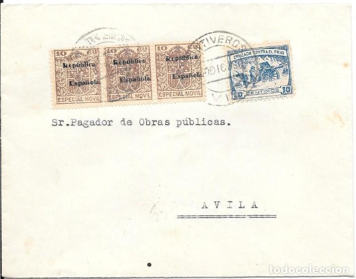LISTA AVILA. CRUZADA CONTRA EL FRIO. DE FONTIVEROS - AVILA A AVILA. 1936 (Sellos - España - Guerra Civil - De 1.936 a 1.939 - Cartas)