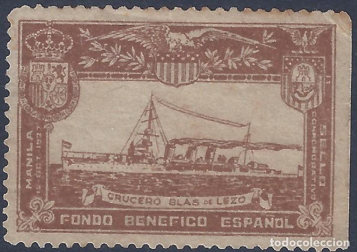 FONDO BENÉFICO ESPAÑOL. LLEGADA 12-10-1927 A MANILA DEL CRUCERO BLAS DE LEZO. MUY ESCASO. LUJO. MLH. (Sellos - España - Guerra Civil - Viñetas - Nuevos)