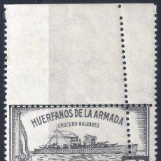 Sellos: HUÉRFANOS DE LA ARMADA. CRUCERO BALEARES 5 PTS. (VARIEDAD...DOBLE DENTADO). MNH **. Lote 217757252