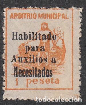 GUERRA CIVIL - SELLO DE ARBITRIO MUNICIPAL HABILITADO PARA AUXILIO A NECESITADOS 1 PESETA (Sellos - España - Guerra Civil - Beneficencia)