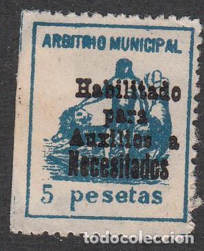 GUERRA CIVIL - SELLO DE ARBITRIO MUNICIPAL HABILITADO PARA AUXILIO A NECESITADOS 5 PESETAS (Sellos - España - Guerra Civil - Beneficencia)