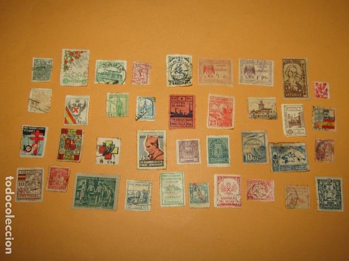 Sellos: Antiguo Lote de 37 Viñetas Guerra Civil de Ambos Bandos - Año 1936-39 - Foto 2 - 217898167