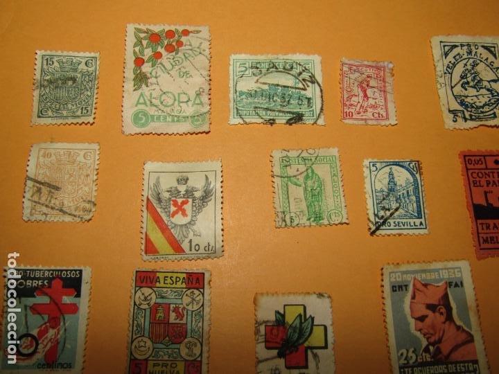 Sellos: Antiguo Lote de 37 Viñetas Guerra Civil de Ambos Bandos - Año 1936-39 - Foto 3 - 217898167