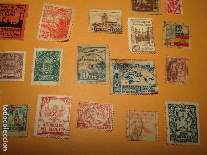 Sellos: Antiguo Lote de 37 Viñetas Guerra Civil de Ambos Bandos - Año 1936-39 - Foto 5 - 217898167