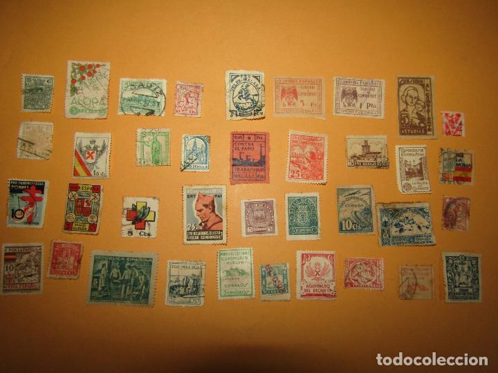 Sellos: Antiguo Lote de 37 Viñetas Guerra Civil de Ambos Bandos - Año 1936-39 - Foto 8 - 217898167
