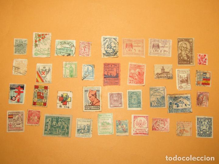 ANTIGUO LOTE DE 37 VIÑETAS GUERRA CIVIL DE AMBOS BANDOS - AÑO 1936-39 (Sellos - España - Guerra Civil - Viñetas - Usados)