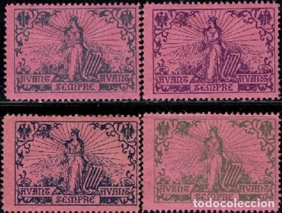ESPAÑA CATALUÑA 1900 NATHAN 13 4 VIÑETAS PAPEL ROSA (Sellos - España - Guerra Civil - Viñetas - Nuevos)