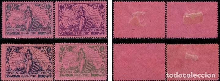 Sellos: ESPAÑA CATALUÑA 1900 NATHAN 13 4 VIÑETAS PAPEL ROSA - Foto 3 - 217958356