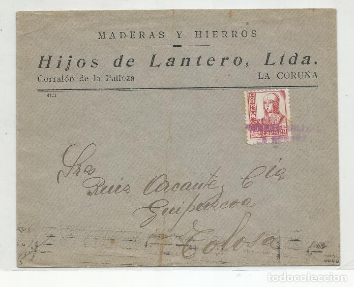 CIRCULADA 1938 DE LA CORUÑA A TOLOSA CON CENSURA MILITAR Y SELLO LOCAL (Sellos - España - Guerra Civil - Locales - Cartas)