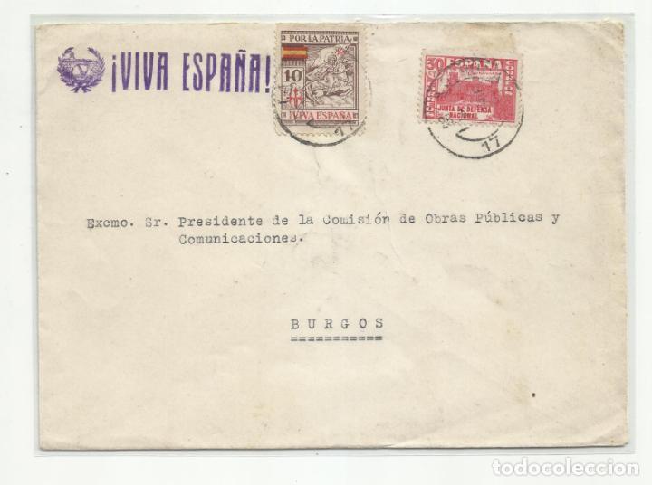 CIRCULADA 1937 DE LA CORUÑA A BURGOS CON SELLO LOCAL (Sellos - España - Guerra Civil - Locales - Cartas)
