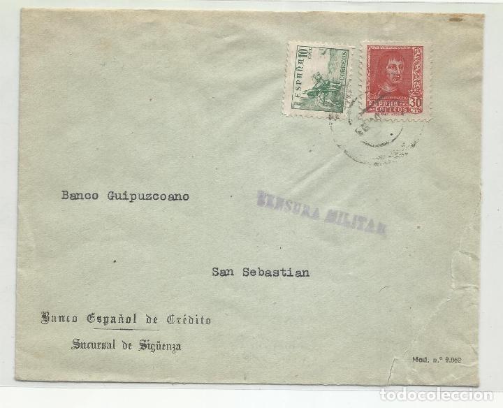 CIRCULADA 1938 BANESTO DE SIGUENZA GUADALAJARA A SAN SEBASTIAN CON CENSURA MILITAR (Sellos - España - Guerra Civil - Locales - Cartas)