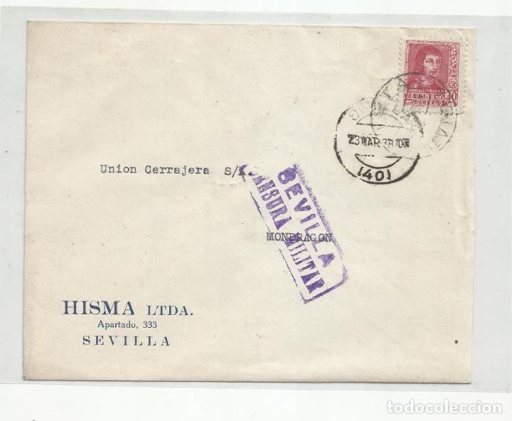 CIRCULADA 1938 DE SEVILLA A MONDRAGON GUIPUZCOA CON CENSURA MILITAR Y SELLO LOCAL (Sellos - España - Guerra Civil - Locales - Cartas)