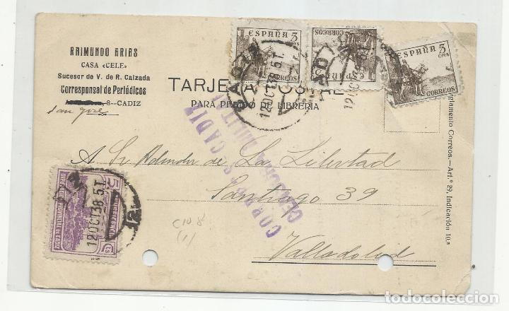 CIRCULADA 1938 DE CADIZ A LA LIBERTAD DE VALLADOLID CON CENSURA MILITAR Y SELLO LOCAL (Sellos - España - Guerra Civil - Locales - Cartas)
