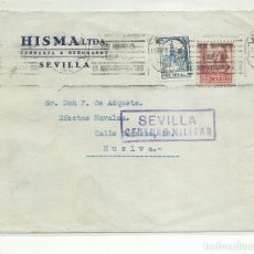 Sellos: FRONTAL CIRCULADA 193DE SEVILLA A HUELVA CON CENSURA MILITAR Y SELLO LOCAL. Lote 218019217