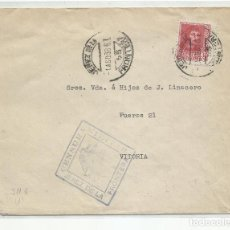 Sellos: CIRCULADA 1938 DE JEREZ DE LA FRONTERA A VITORIA CON CENSURA MILITAR Y SELLO LOCAL. Lote 218062157