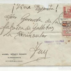 Sellos: CIRCULADA 1937 DE VIVERO LUGO A TUY CON CENSURA MILITAR Y SELLO LOCAL. Lote 218073971