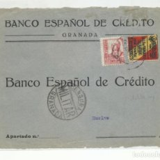 Sellos: FRONTAL CIRCULADA 1937 DE GRANADA A HUELVA CON CENSURA MILITAR Y SELLO LOCAL. Lote 218075163