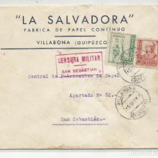 Sellos: CIRCULADA 1937 DE VILLABONA A SANSEBASTIAN GUIPUZCOA CON CENSURA MILITAR Y SELLO LOCAL. Lote 218075551