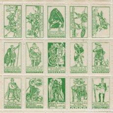 Sellos: CATALUÑA. EXPOSICIO SEGELLS DE GUERRA 1916. SERIE 15 VALORES***COLOR ESMERALDA, DISEÑO TUBAU.. Lote 218100830