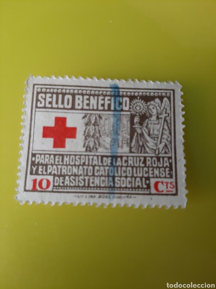 LUGO HOSPITAL CRUZ ROJA BENEFICENCIA 10 CÉNTIMOS IMPRENTA ROEL LA CORUÑA (Sellos - España - Guerra Civil - Beneficencia)