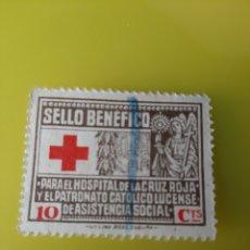 Sellos: LUGO HOSPITAL CRUZ ROJA BENEFICENCIA 10 CÉNTIMOS IMPRENTA ROEL LA CORUÑA. Lote 218207815