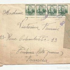 Sellos: CIRCULADA 1938 DE VILADRAU GIRONA A TOULOUSE FRANCIA CON CENSURA REPUBLICANA. Lote 218382942
