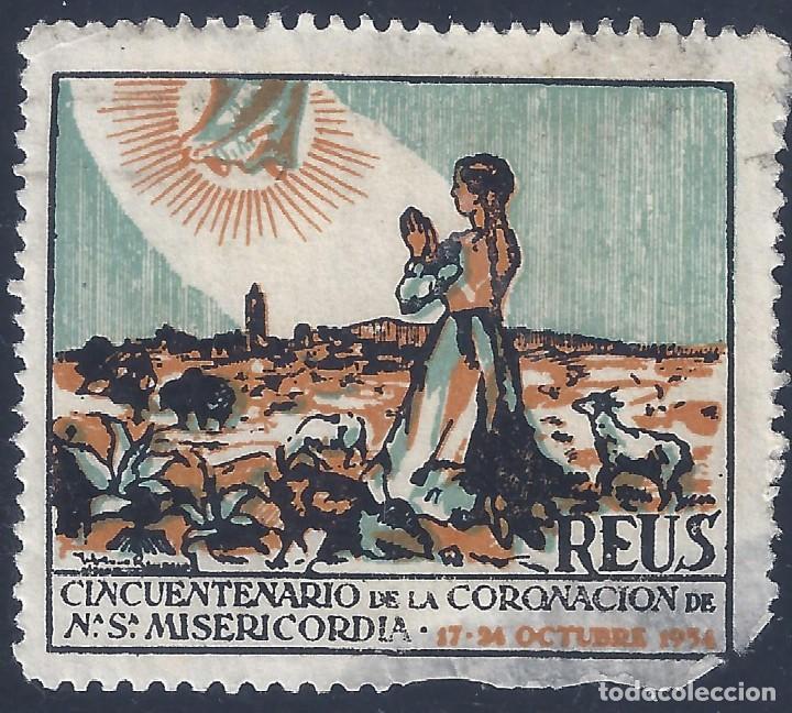 REUS. CINCUENTENARIO DE LA CORONACIÓN DE NTRA. SRA. DE LA MISERICORDIA 17-24 OCTUBRE 1954. (Sellos - España - Guerra Civil - Viñetas - Usados)