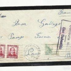 Sellos: CIRCULADA 1937 DE SAN SEBASTIAN A PAU FRANCIA CON CENSURA REPUBLICANA. Lote 218384762
