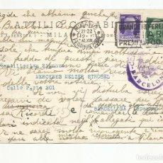 Sellos: TARJETA CIRCULADA 1940 DE MILAN ITALIA A BARCELONA CON CENSURA MILITAR. Lote 218385440