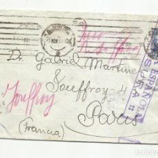 Sellos: CIRCULADA 1936 DE BARCELONA A PARIS CON CENSURA REPUBLICANA. Lote 218385735