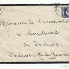 Sellos: CIRCULADA 1936 DE BARCELONA A COMANDANTE RECLUTAMIENTO TOULOUSE FRANCIA CON CENSURA REPUBLICANA. Lote 218386156