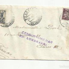 Sellos: CIRCULADA 1937 DE VILLAVIEJA SALAMANCA A PARIS FRANCIA CON CENSURA LOS LUMBRALES. Lote 218386413