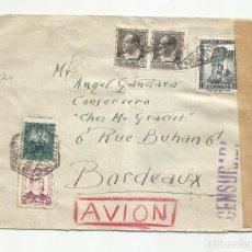 Sellos: CIRCULADA 1938 DE MADRID A BORDEAUX FRANCIA CON CENSURA REPUBLICANA. Lote 218408641