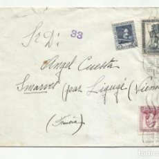 Sellos: CIRCULADA 1938 DE MADRID A SMARVES FRANCIA CON CENSURA REPUBLICANA. Lote 218408900