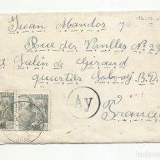 Sellos: CIRCULADA 1943 DE SALLENT BARCELONA A SOLVAY FRANCIA CON CENSURA GUVERNATIVA Y FECHADOR SAMPEDOR. Lote 218410085
