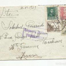 Sellos: CIRCULADA 1939 DE TORRELAVEGA SANTANDER A TOULOUSE FRANCIA CON CENSURA MILITAR. Lote 218410385