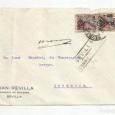 Sellos: CIRCULADA 1939 DE SEVILLA A INTERIOR CON CENSURA MILITAR Y SELLOS TUNEADOS. Lote 218410601